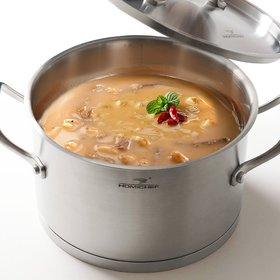 HOMI CHEF Matte Polished Nickel Free Stainless Steel 3.5 QT Stock Pot with Lid (8.5 Inch Straight Sided)