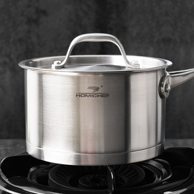 HOMI CHEF Matte Polished NICKEL FREE Stainless Steel 1.75 QT(Quart) Sauce Pan/ Sauce Pot with Lid
