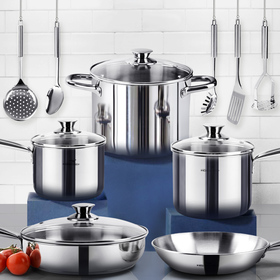 HOMI CHEF 14-Piece Mirror Polished Nickel Free Stainless Steel Cookware Set