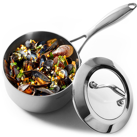HOMI CHEF Mirror Polished Nickel Free Stainless Steel 1.75 QT Sauce Pan with Glass Lid