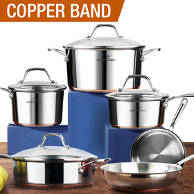 HOMI CHEF 10-Piece Mirror Polished Copper Band NICKEL FREE Stainless Steel Cookware Pots and Pans Sets