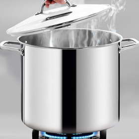 HOMI CHEF LARGE HEAVY ECOLOGICAL NICKEL FREE Stainless Steel Stock Pot 16qt w/Lid (No Toxic Non Stick Coating, 6LBS)