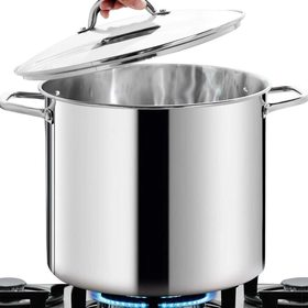 HOMI CHEF Large NICKEL FREE Stainless Steel Stock Pot 16 Quart with Lid - Mirror Polished Stockpot 16 Quart with Lid - Healthy Cookware Induction Pot - Heavy Soup Pot Large Cooking Pot With Lid
