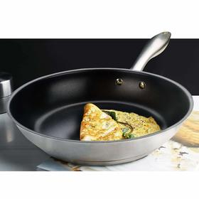 HOMICHEF 9.5 Inch Nonstick Fry Pan Nickel Free Stainless Steel - Omelet Pan 9.5 Inch Nonstick Pan PFOA Free - Teflon Nonstick Frying Pans 9.5 Inch Induction Glass Compatible - Omelette Pan Nonstick