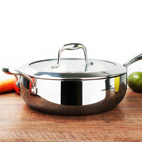 HOMI CHEF Mirror Polished Nickel Free Stainless Steel 5 QT Deep Saute Pan with Glass Lid