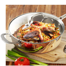 HOMI CHEF Mirror Polished Copper Band Nickel Free Stainless Steel 2.5 QT Saute Pan with Glass Lid
